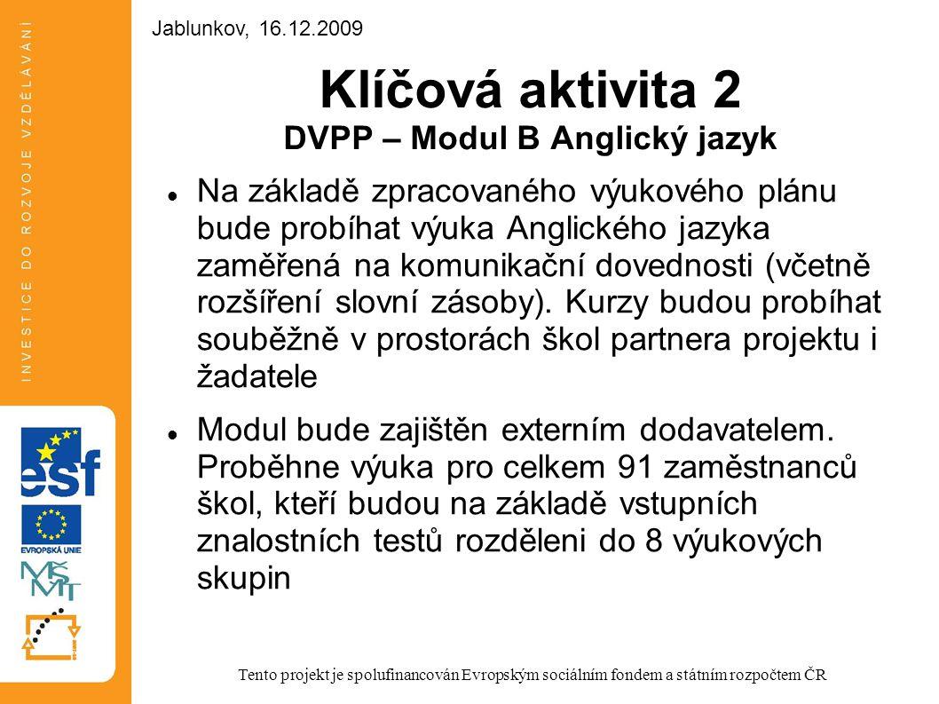 Klíčová aktivita 2 DVPP – Modul B Anglický jazyk Na základě zpracovaného výukového plánu bude probíhat výuka Anglického jazyka zaměřená na komunikační