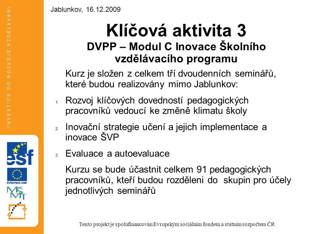 Klíčová aktivita 3 DVPP – Modul C Inovace Školního vzdělávacího programu Kurz je složen z celkem tří dvoudenních seminářů, které budou realizovány mim
