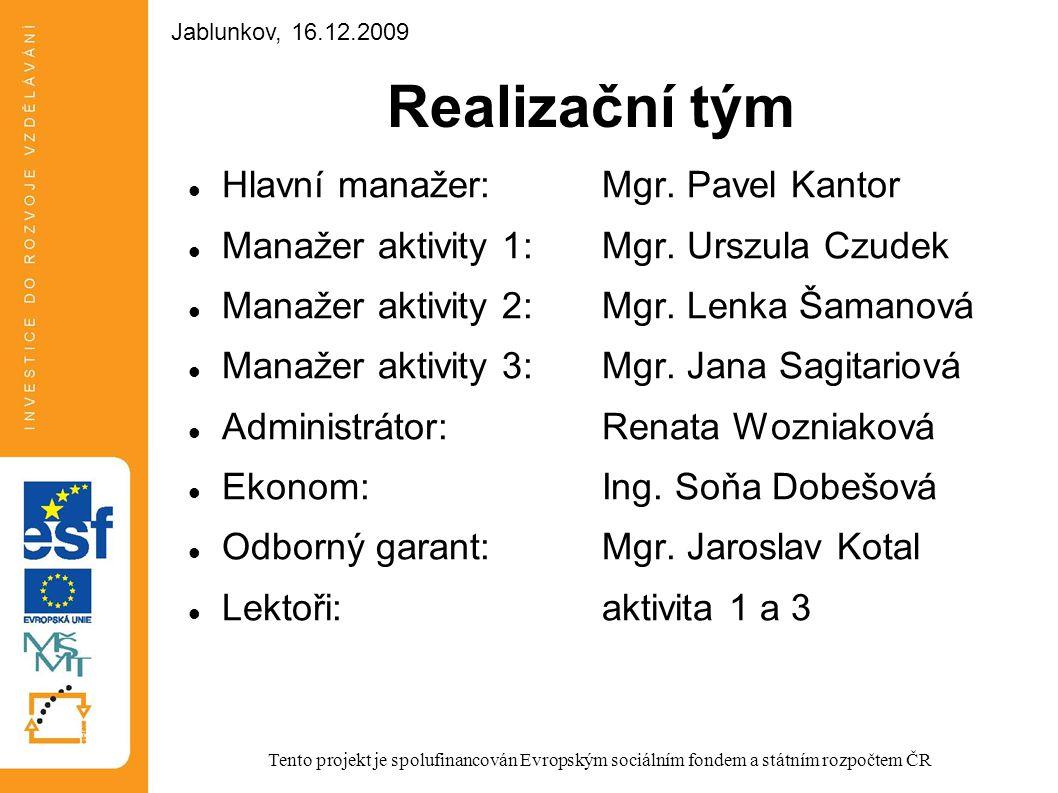 Realizační tým Hlavní manažer:Mgr. Pavel Kantor Manažer aktivity 1:Mgr. Urszula Czudek Manažer aktivity 2:Mgr. Lenka Šamanová Manažer aktivity 3:Mgr.