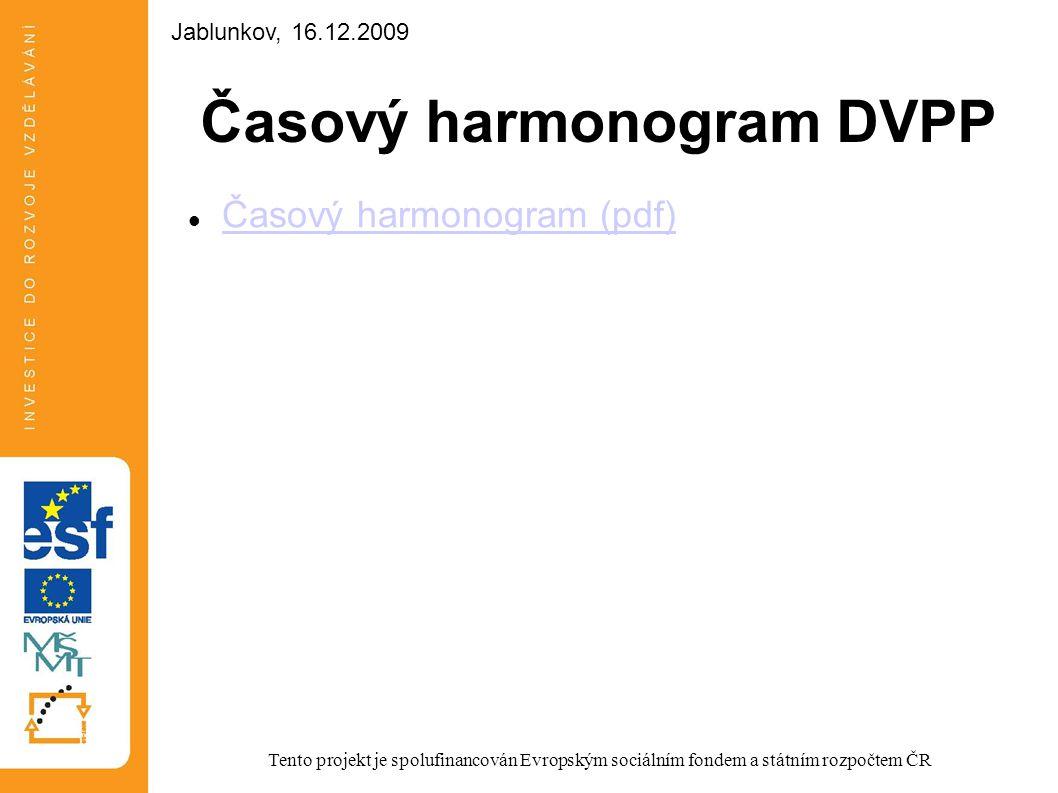 Časový harmonogram DVPP Časový harmonogram (pdf) Tento projekt je spolufinancován Evropským sociálním fondem a státním rozpočtem ČR Jablunkov, 16.12.2