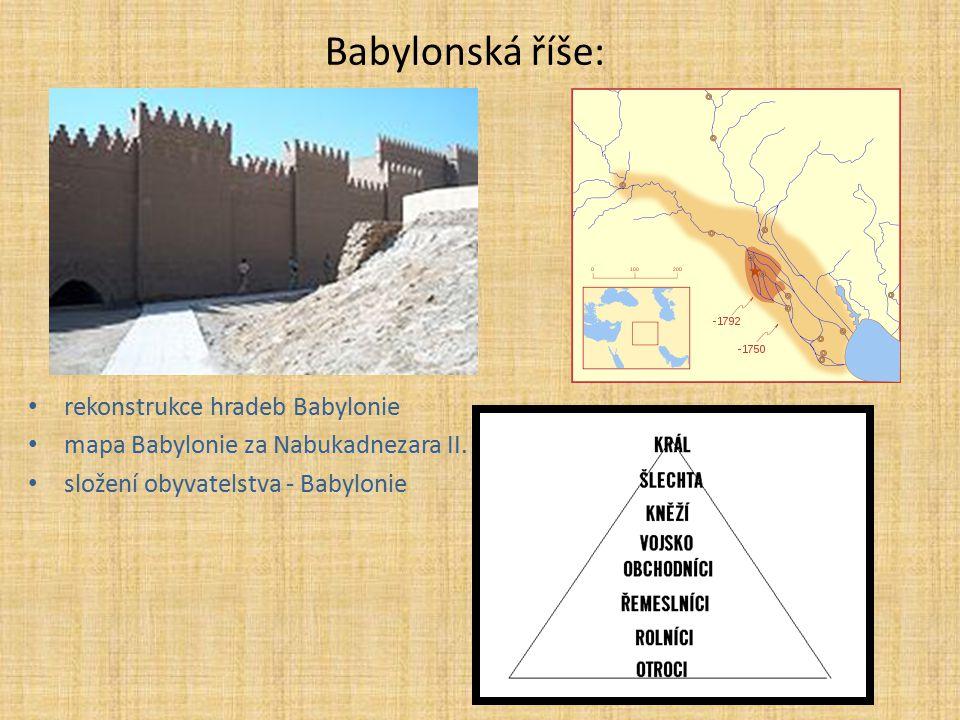 Babylonská říše: rekonstrukce hradeb Babylonie mapa Babylonie za Nabukadnezara II. složení obyvatelstva - Babylonie