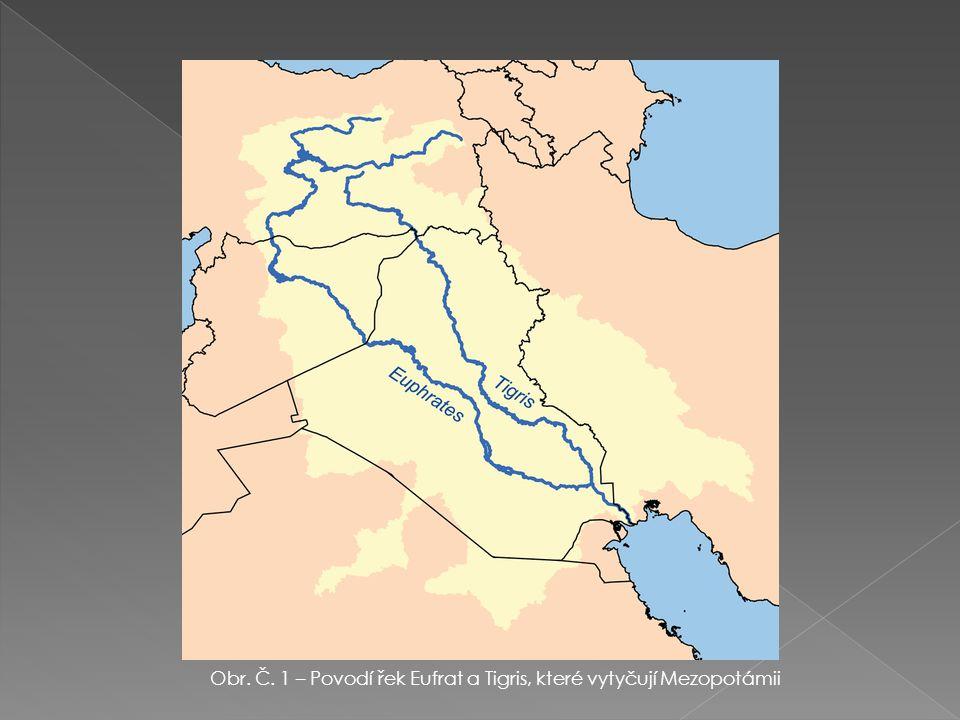 Obr. Č. 1 – Povodí řek Eufrat a Tigris, které vytyčují Mezopotámii