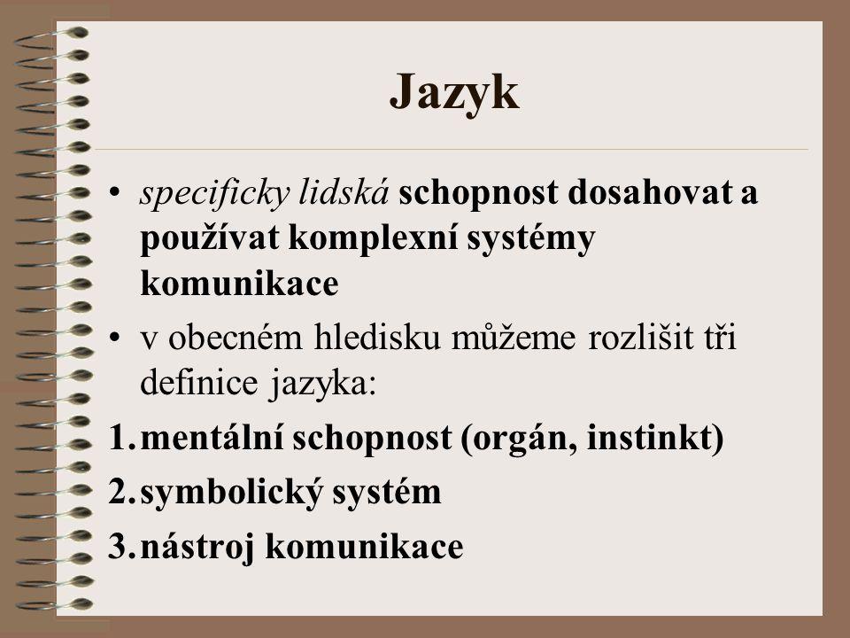 Mentální schopnost orgán, instinkt (kognitivně vědný pohled) univerzálnost jazyka napříč všemi lidmi, biologický základ jazyka, vlastnost mozku (vrozenost – Chomsky, Fodor) studium vývoje jazyka (paleolingvistika), vývoj jazyka u dětí (psycholingvistika), poruchy v používání jazykového instinktu (neurolingvistika) ad.