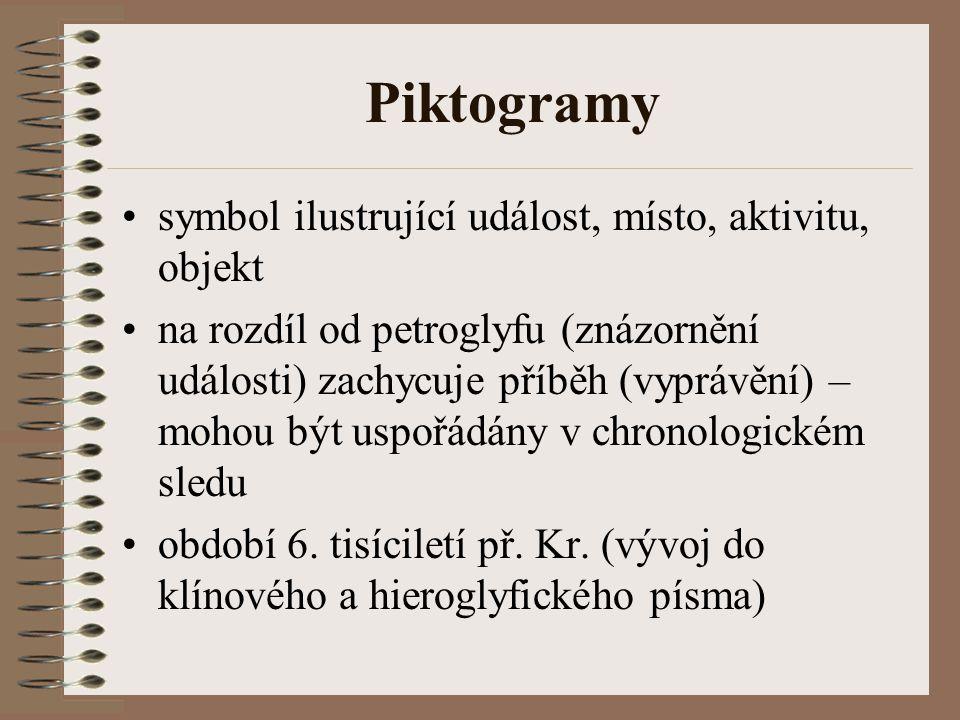 Piktogramy symbol ilustrující událost, místo, aktivitu, objekt na rozdíl od petroglyfu (znázornění události) zachycuje příběh (vyprávění) – mohou být