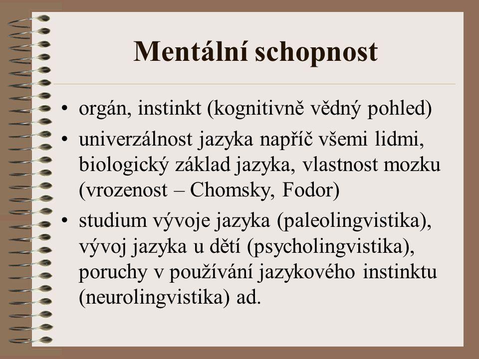 Mentální schopnost orgán, instinkt (kognitivně vědný pohled) univerzálnost jazyka napříč všemi lidmi, biologický základ jazyka, vlastnost mozku (vroze