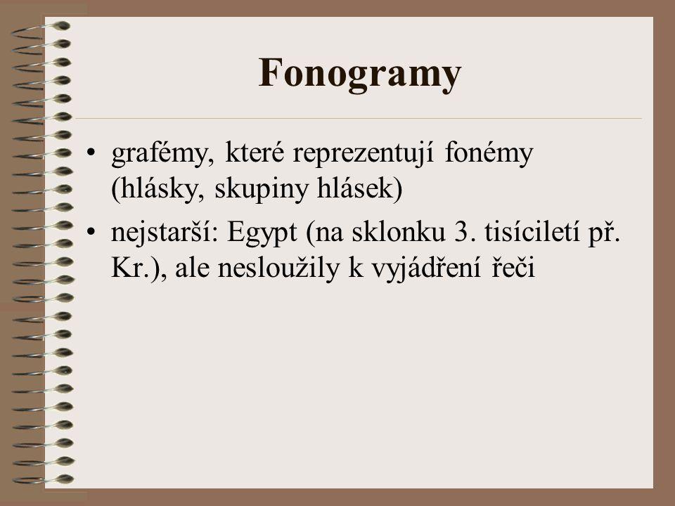 Fonogramy grafémy, které reprezentují fonémy (hlásky, skupiny hlásek) nejstarší: Egypt (na sklonku 3. tisíciletí př. Kr.), ale nesloužily k vyjádření