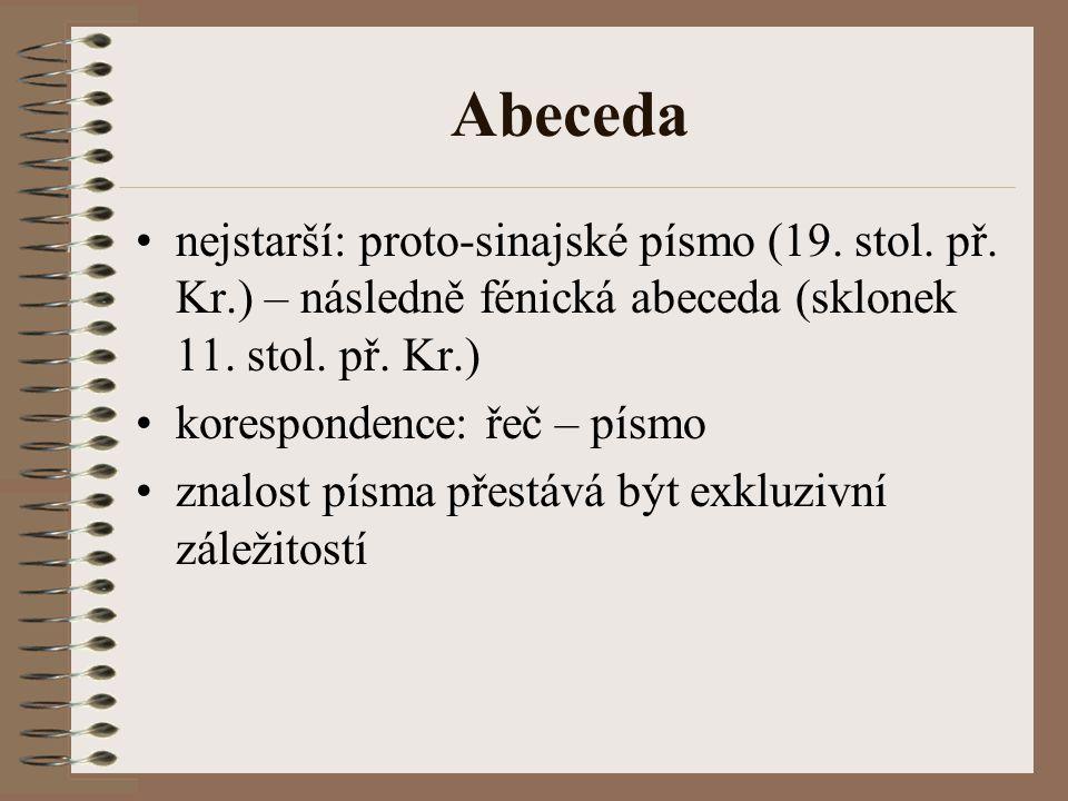 Abeceda nejstarší: proto-sinajské písmo (19. stol. př. Kr.) – následně fénická abeceda (sklonek 11. stol. př. Kr.) korespondence: řeč – písmo znalost