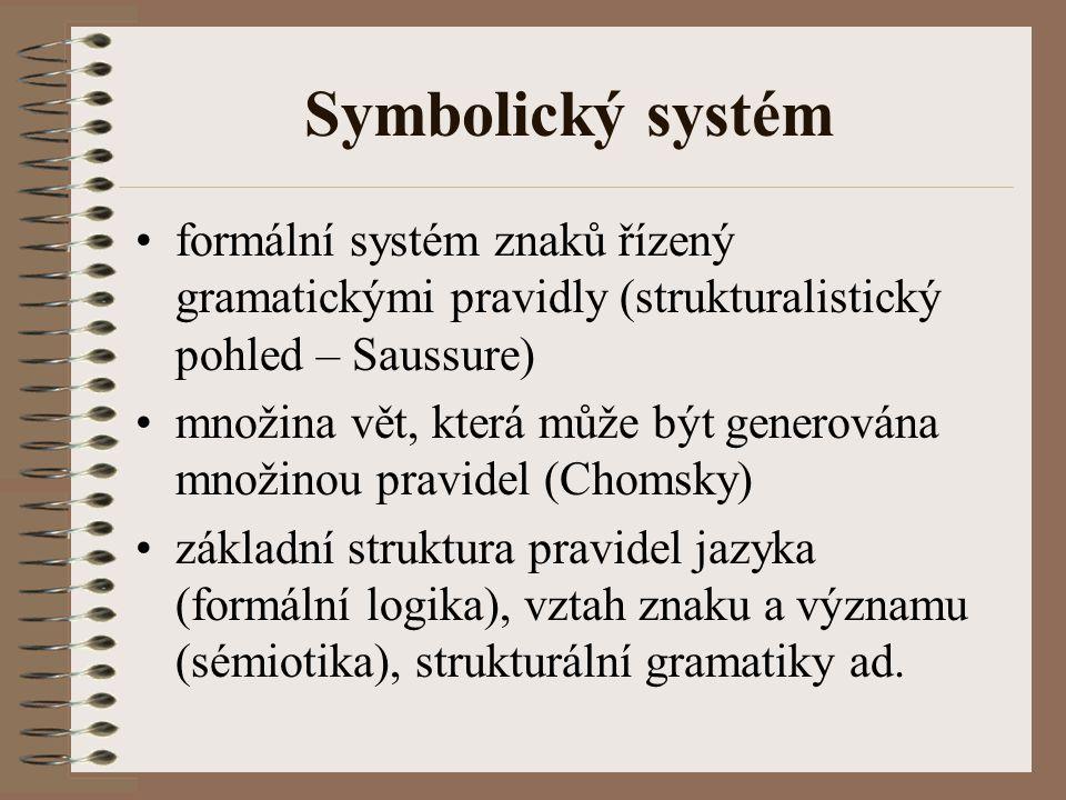 Symbolický systém formální systém znaků řízený gramatickými pravidly (strukturalistický pohled – Saussure) množina vět, která může být generována množ
