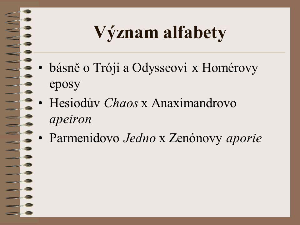 Význam alfabety básně o Tróji a Odysseovi x Homérovy eposy Hesiodův Chaos x Anaximandrovo apeiron Parmenidovo Jedno x Zenónovy aporie