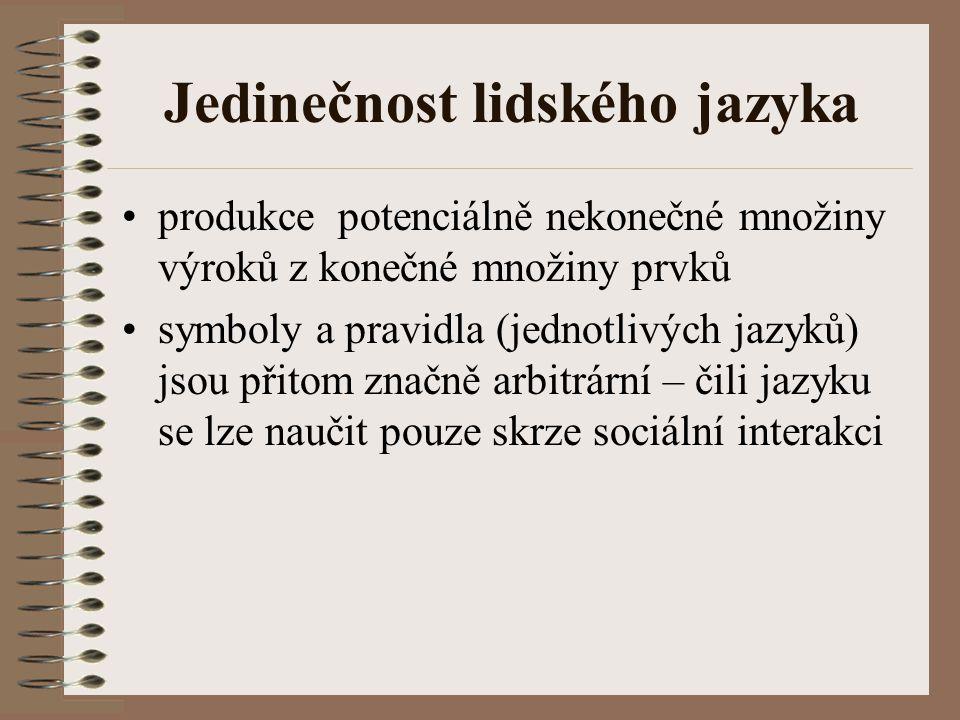 Jedinečnost lidského jazyka produkce potenciálně nekonečné množiny výroků z konečné množiny prvků symboly a pravidla (jednotlivých jazyků) jsou přitom