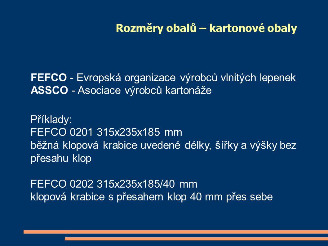 Rozměry obalů – kartonové obaly FEFCO - Evropská organizace výrobců vlnitých lepenek ASSCO - Asociace výrobců kartonáže Příklady: FEFCO 0201 315x235x1