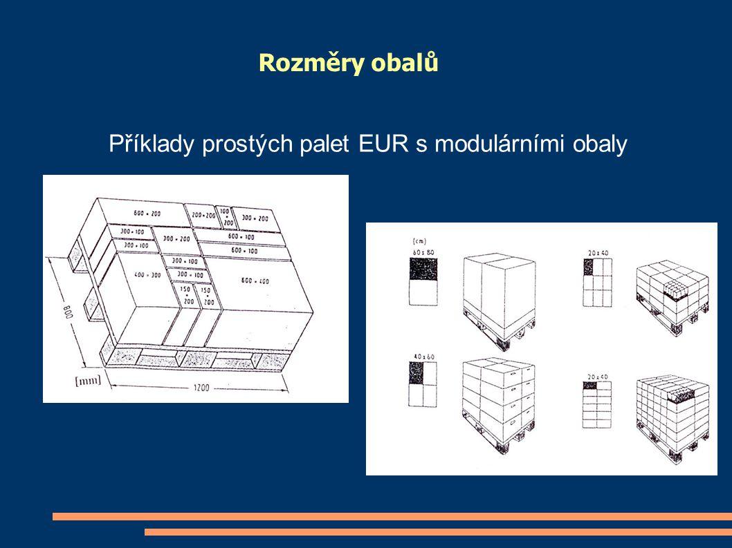 Rozměry obalů Příklady prostých palet EUR s modulárními obaly