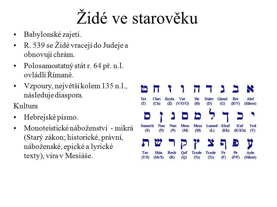 Židé ve starověku Babylonské zajetí. R. 539 se Židé vracejí do Judeje a obnovují chrám. Polosamostatný stát r. 64 př. n.l. ovládli Římané. Vzpoury, ne