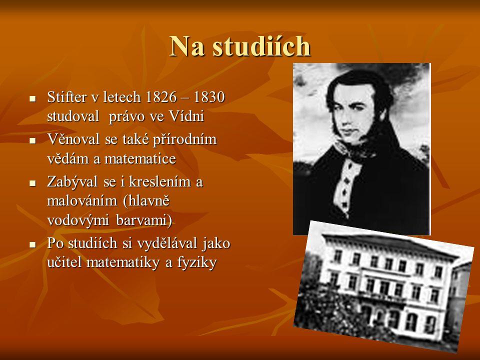 Na studiích Stifter v letech 1826 – 1830 studoval právo ve Vídni Stifter v letech 1826 – 1830 studoval právo ve Vídni Věnoval se také přírodním vědám a matematice Věnoval se také přírodním vědám a matematice Zabýval se i kreslením a malováním (hlavně vodovými barvami) Zabýval se i kreslením a malováním (hlavně vodovými barvami) Po studiích si vydělával jako učitel matematiky a fyziky Po studiích si vydělával jako učitel matematiky a fyziky