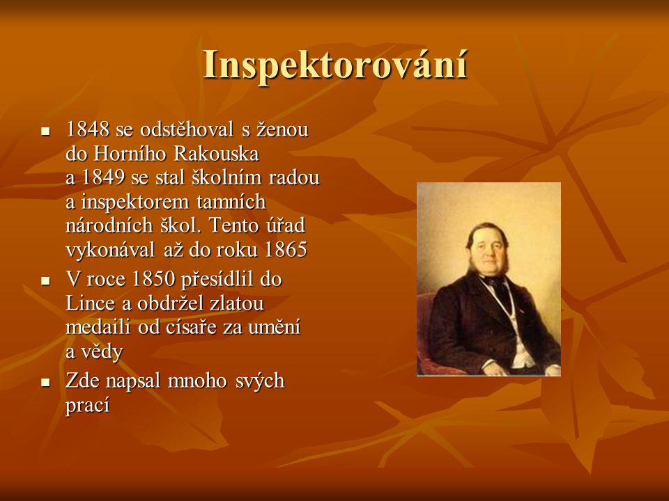 1848 se odstěhoval s ženou do Horního Rakouska a 1849 se stal školním radou a inspektorem tamních národních škol.