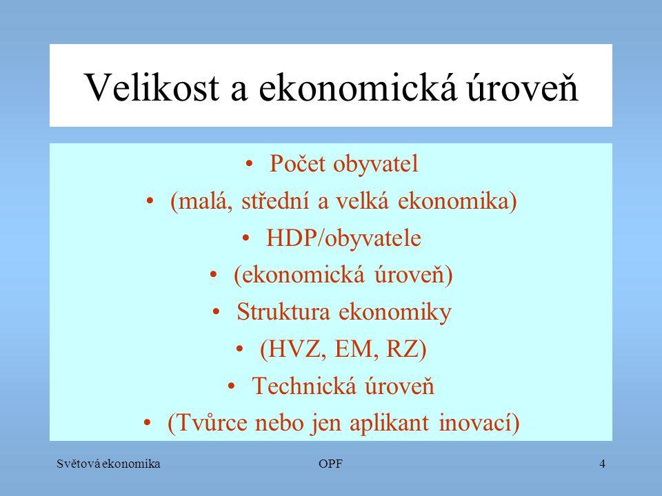 Světová ekonomikaOPF5 Charakter zapojení ekonomiky do SE Teritoriální struktura obchodu (největší obchodní partner) Komoditní struktura obchodu (dodavatel surovin a polotovarů nebo výrobků) Stupeň zapojení do SE (otevřená, uzavřená ekonomika) Postavení na kapitálových trzích (dovozce, vývozce, dlužník)