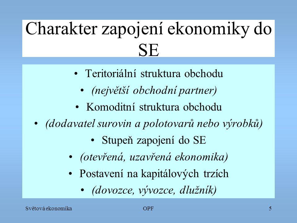 Světová ekonomikaOPF6 Politická stabilita, celkové hodnocení Pluralitní demokracie Autoritativní režim Nestabilní, rozpadávající se stát Rating