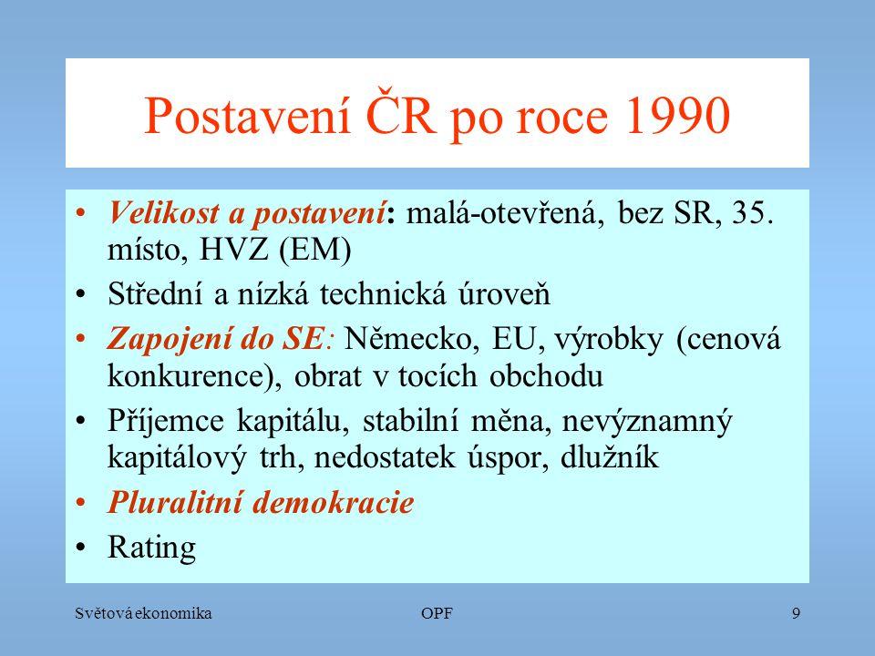 Světová ekonomikaOPF9 Postavení ČR po roce 1990 Velikost a postavení: malá-otevřená, bez SR, 35.