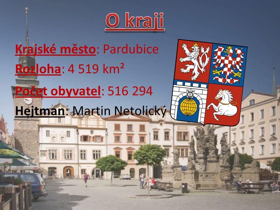 Krajské město: Pardubice Rozloha: 4 519 km² Počet obyvatel: 516 294 Hejtman: Martin Netolický