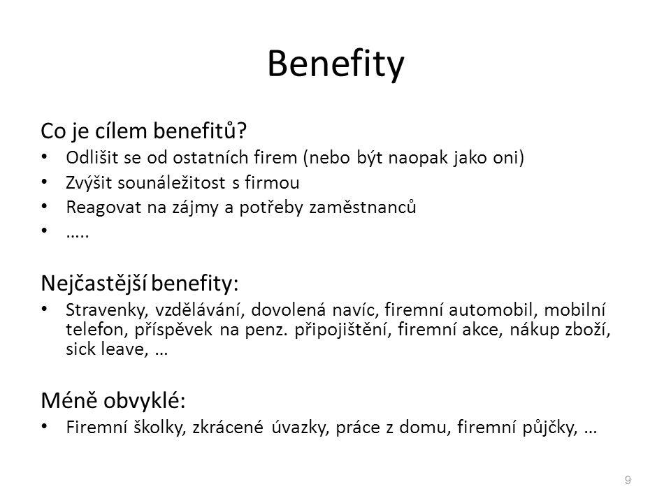 Benefity Co je cílem benefitů.