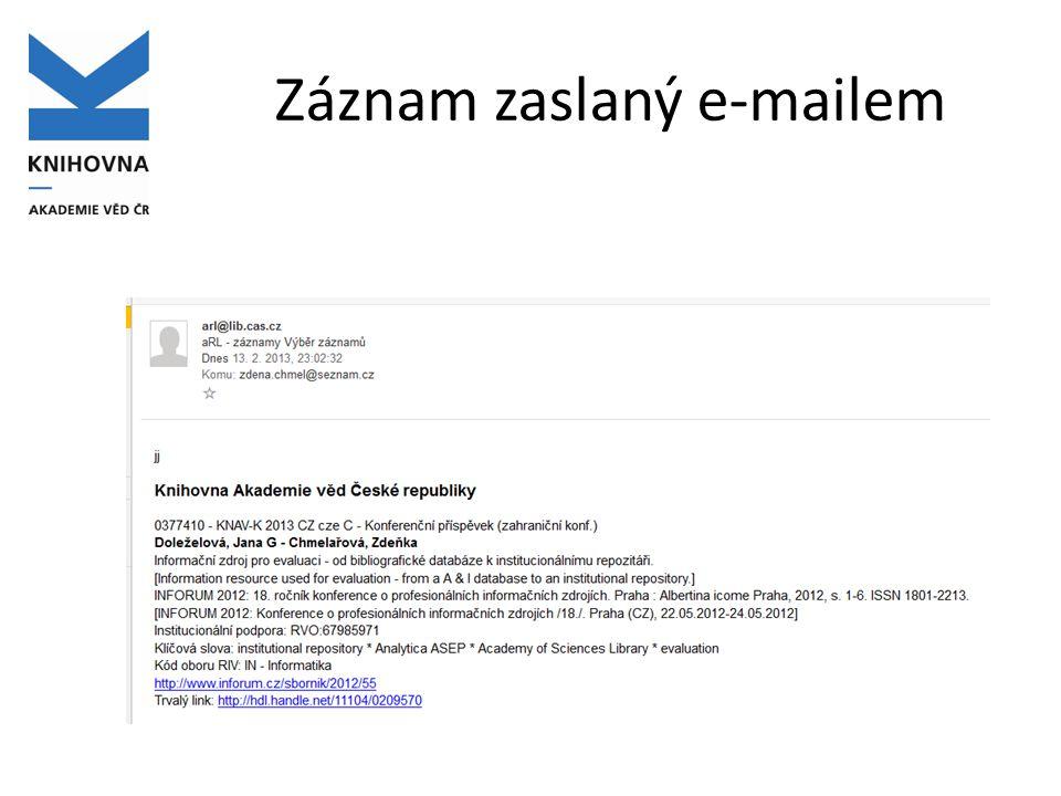 Záznam zaslaný e-mailem