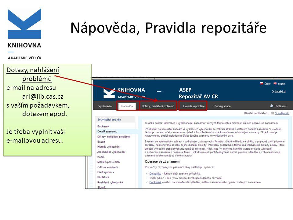 Rozšířené vyhledávání Přidat další pole pro vyhledávání operátory Defaultní nastavení řazení záznamů