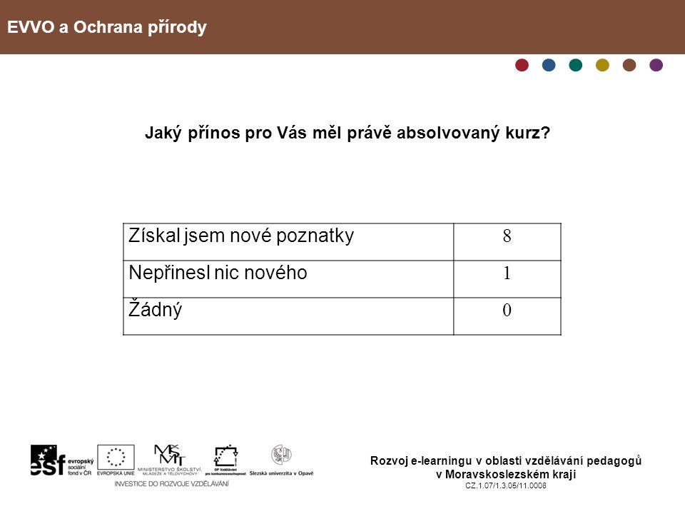 EVVO a Ochrana přírody Rozvoj e-learningu v oblasti vzdělávání pedagogů v Moravskoslezském kraji CZ.1.07/1.3.05/11.0008 Jaký přínos pro Vás měl právě