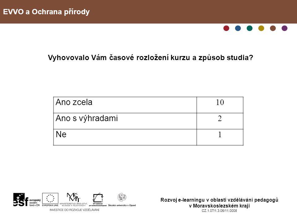 EVVO a Ochrana přírody Rozvoj e-learningu v oblasti vzdělávání pedagogů v Moravskoslezském kraji CZ.1.07/1.3.05/11.0008 Vyhovovalo Vám časové rozložen