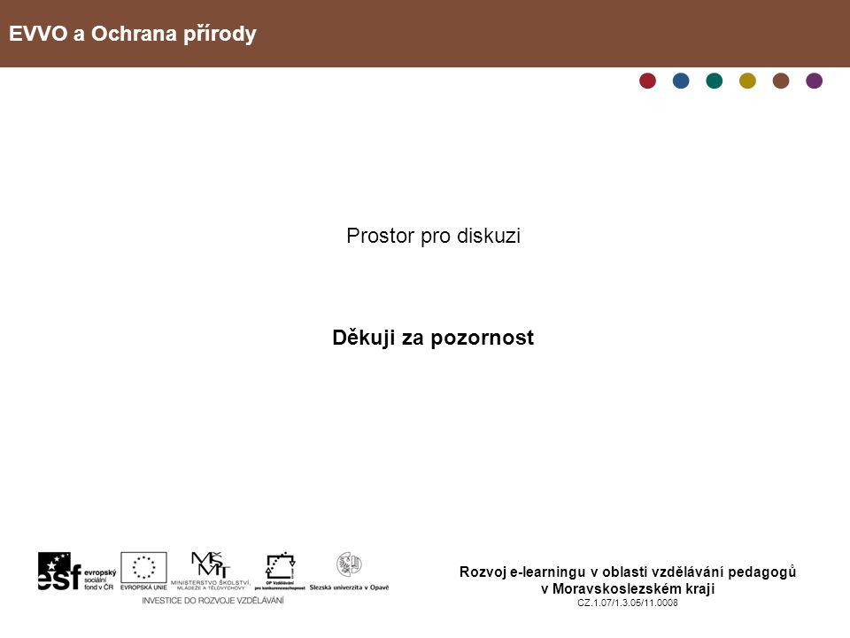 EVVO a Ochrana přírody Rozvoj e-learningu v oblasti vzdělávání pedagogů v Moravskoslezském kraji CZ.1.07/1.3.05/11.0008 Prostor pro diskuzi Děkuji za
