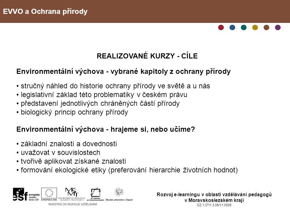 EVVO a Ochrana přírody Rozvoj e-learningu v oblasti vzdělávání pedagogů v Moravskoslezském kraji CZ.1.07/1.3.05/11.0008 PRŮBĚH KURZU 13 účastníků (6 škol) realizace v průběhu června – září 2010 závěrečný tutoriál 30.