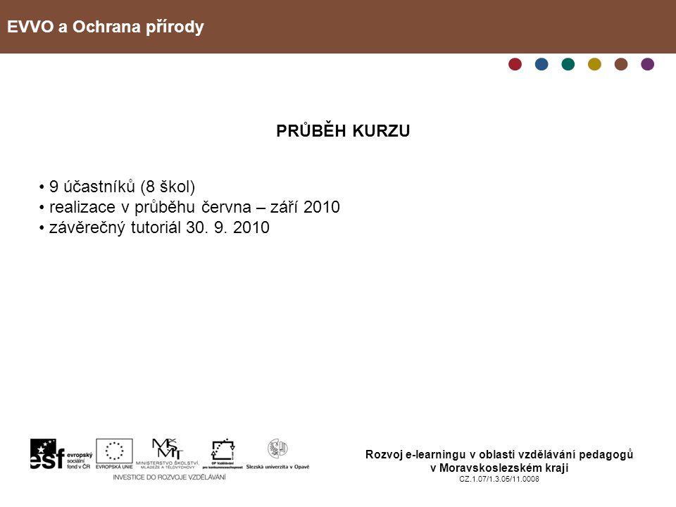 EVVO a Ochrana přírody Rozvoj e-learningu v oblasti vzdělávání pedagogů v Moravskoslezském kraji CZ.1.07/1.3.05/11.0008 PRŮBĚH KURZU 9 účastníků (8 škol) realizace v průběhu června – září 2010 závěrečný tutoriál 30.