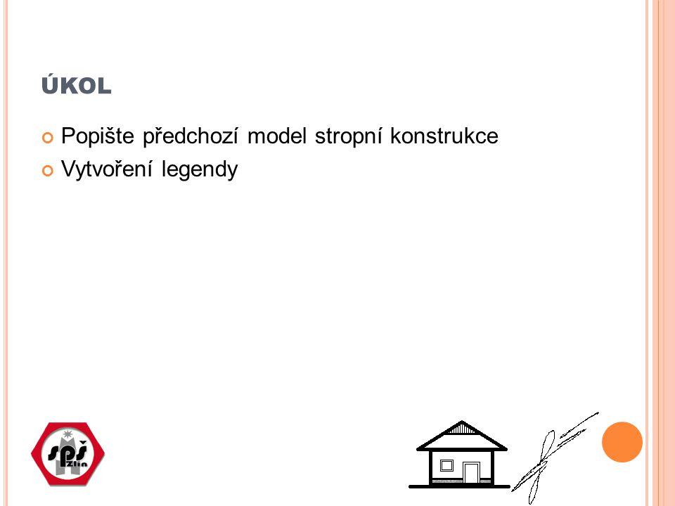 ÚKOL Popište předchozí model stropní konstrukce Vytvoření legendy