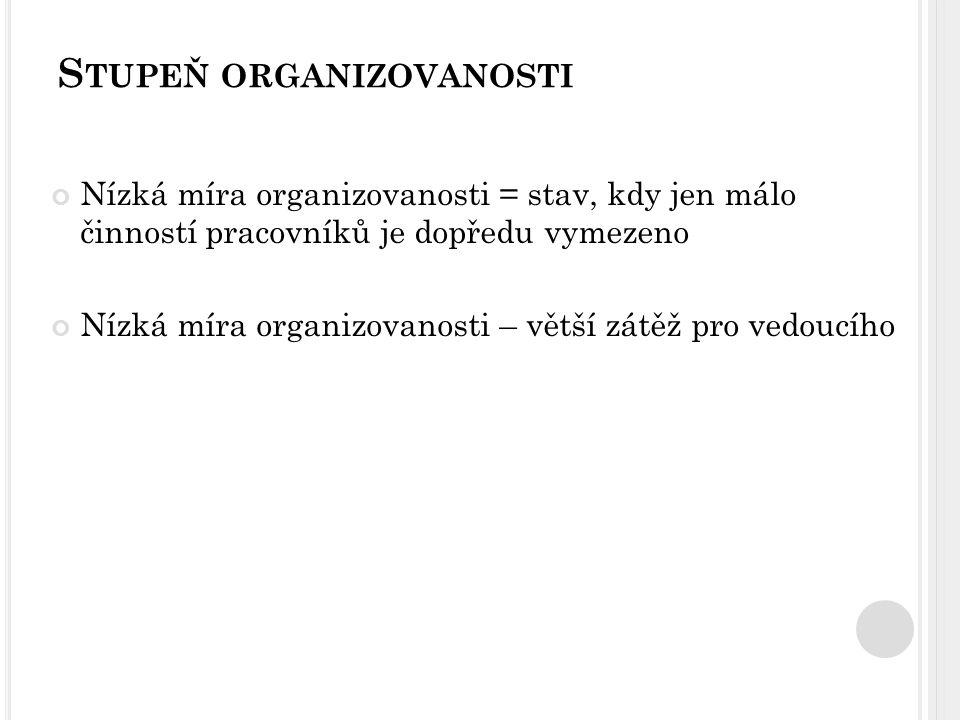 S TUPEŇ ORGANIZOVANOSTI Nízká míra organizovanosti = stav, kdy jen málo činností pracovníků je dopředu vymezeno Nízká míra organizovanosti – větší zát