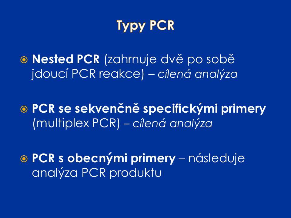  Nested PCR (zahrnuje dvě po sobě jdoucí PCR reakce) – cílená analýza  PCR se sekvenčně specifickými primery (multiplex PCR) – cílená analýza  PCR