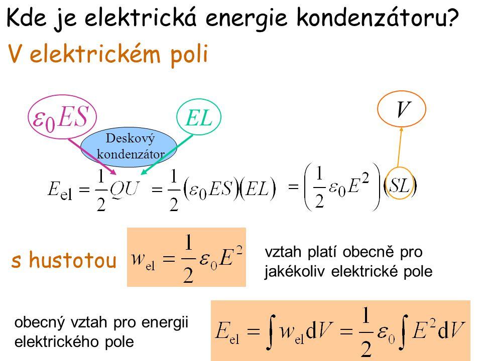 Kde je elektrická energie kondenzátoru? V elektrickém poli EL s hustotou V Deskový kondenzátor vztah platí obecně pro jakékoliv elektrické pole obecný