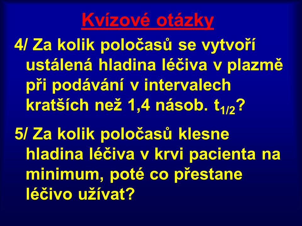 Kvízové otázky 4/ Za kolik poločasů se vytvoří ustálená hladina léčiva v plazmě při podávání v intervalech kratších než 1,4 násob. t 1/2 ? 5/ Za kolik