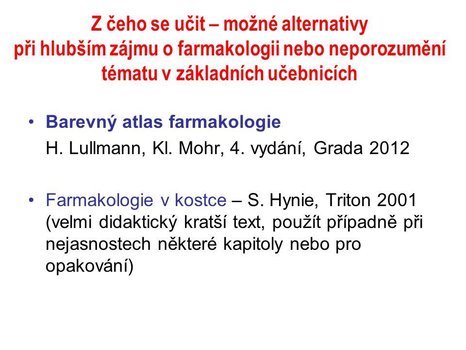 Z čeho se učit – možné alternativy při hlubším zájmu o farmakologii nebo neporozumění tématu v základních učebnicích Barevný atlas farmakologie H. Lul