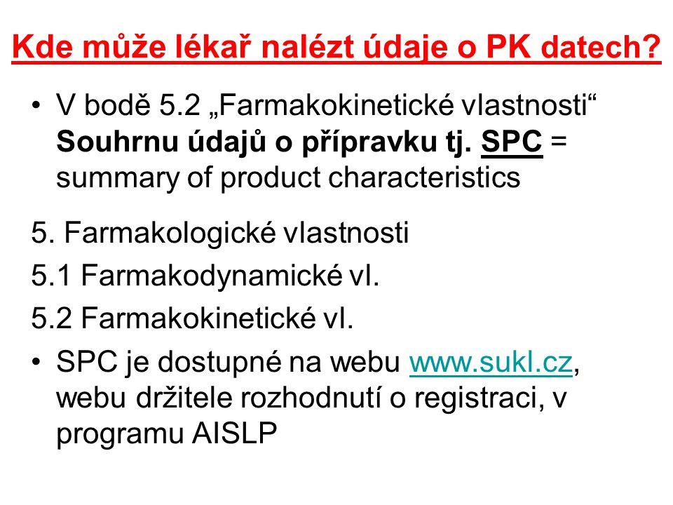 """Kde může lékař nalézt údaje o PK datech ? V bodě 5.2 """"Farmakokinetické vlastnosti"""" Souhrnu údajů o přípravku tj. SPC = summary of product characterist"""