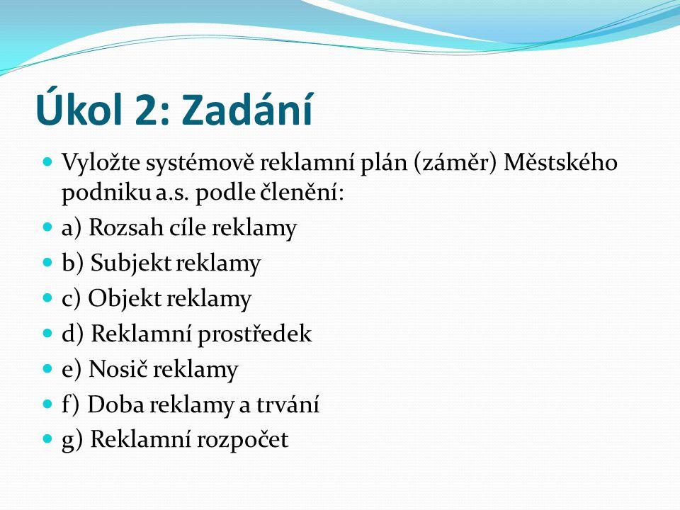 Úkol 2: Zadání Vyložte systémově reklamní plán (záměr) Městského podniku a.s.