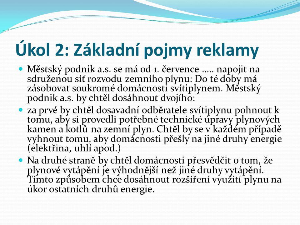Úkol 2: Základní pojmy reklamy Městský podnik a.s.