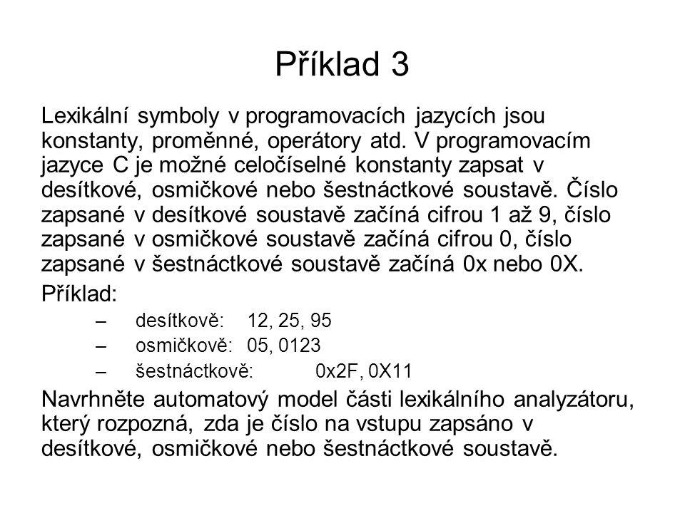 Příklad 3 Lexikální symboly v programovacích jazycích jsou konstanty, proměnné, operátory atd. V programovacím jazyce C je možné celočíselné konstanty