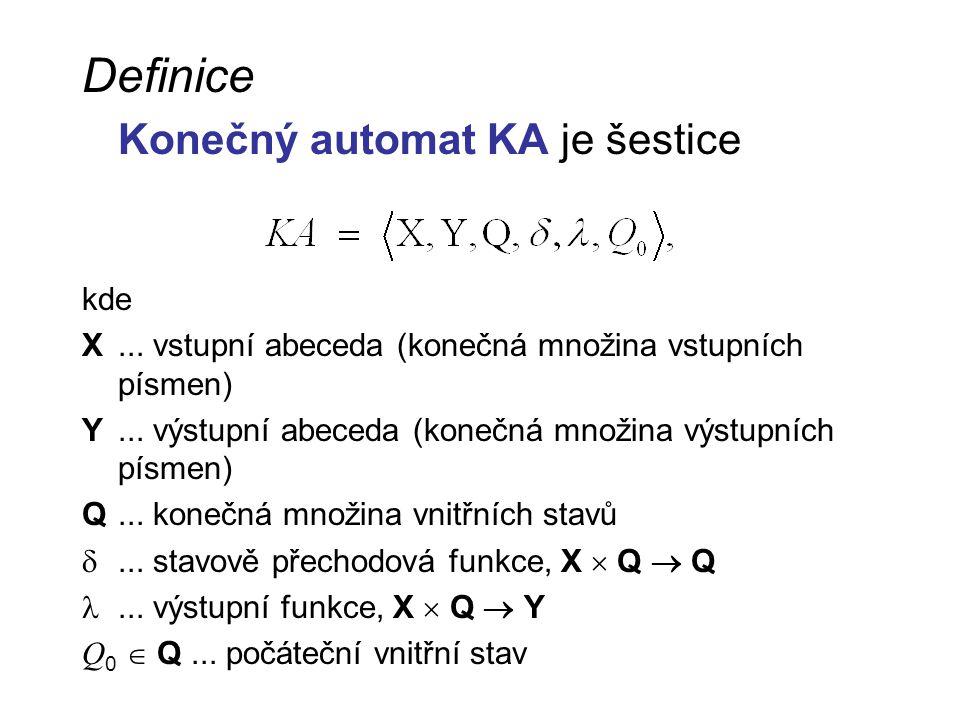 Definice Konečný automat KA je šestice kde X... vstupní abeceda (konečná množina vstupních písmen) Y... výstupní abeceda (konečná množina výstupních p