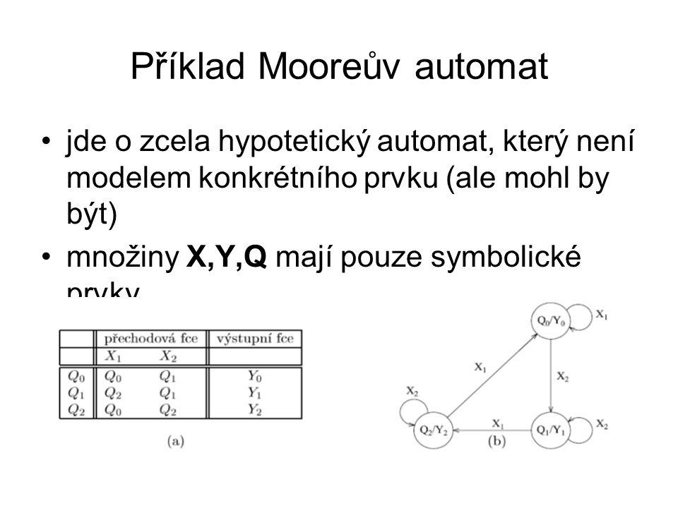 Příklad Mooreův automat jde o zcela hypotetický automat, který není modelem konkrétního prvku (ale mohl by být) množiny X,Y,Q mají pouze symbolické pr