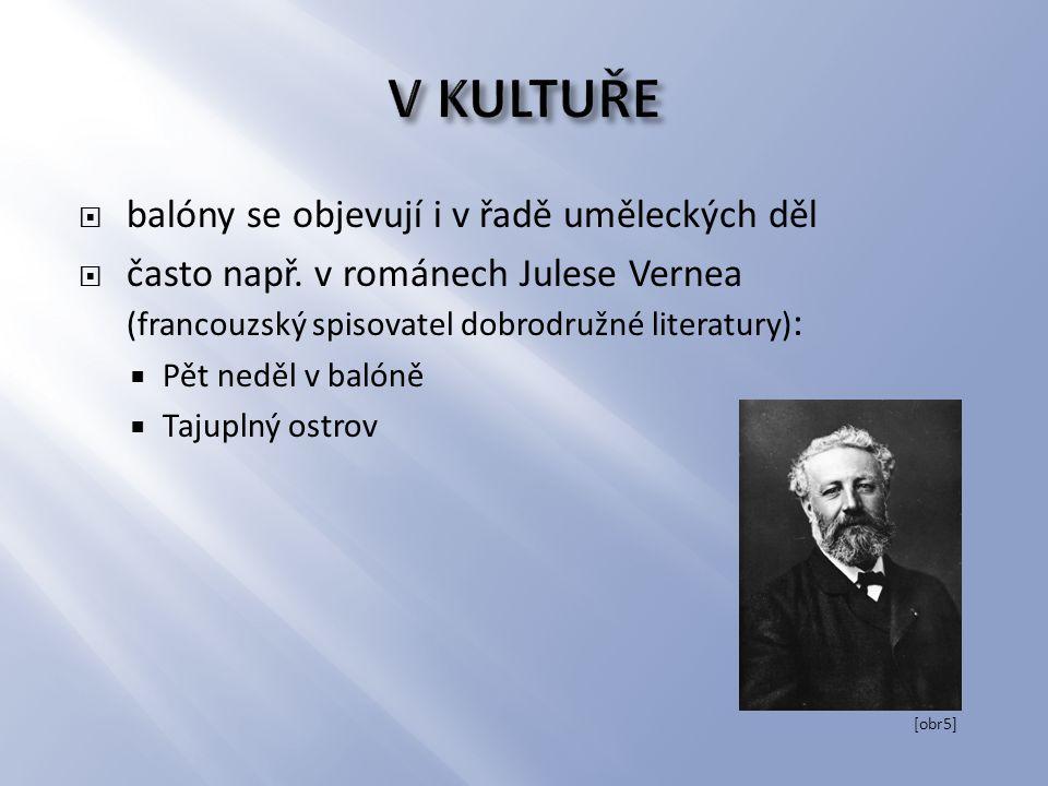  balóny se objevují i v řadě uměleckých děl  často např. v románech Julese Vernea (francouzský spisovatel dobrodružné literatury) :  Pět neděl v ba