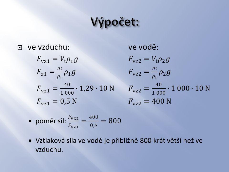 3.a) Porovnej vztlakovou sílu, kterou jsi nadlehčován(a) na stejném místě, např.