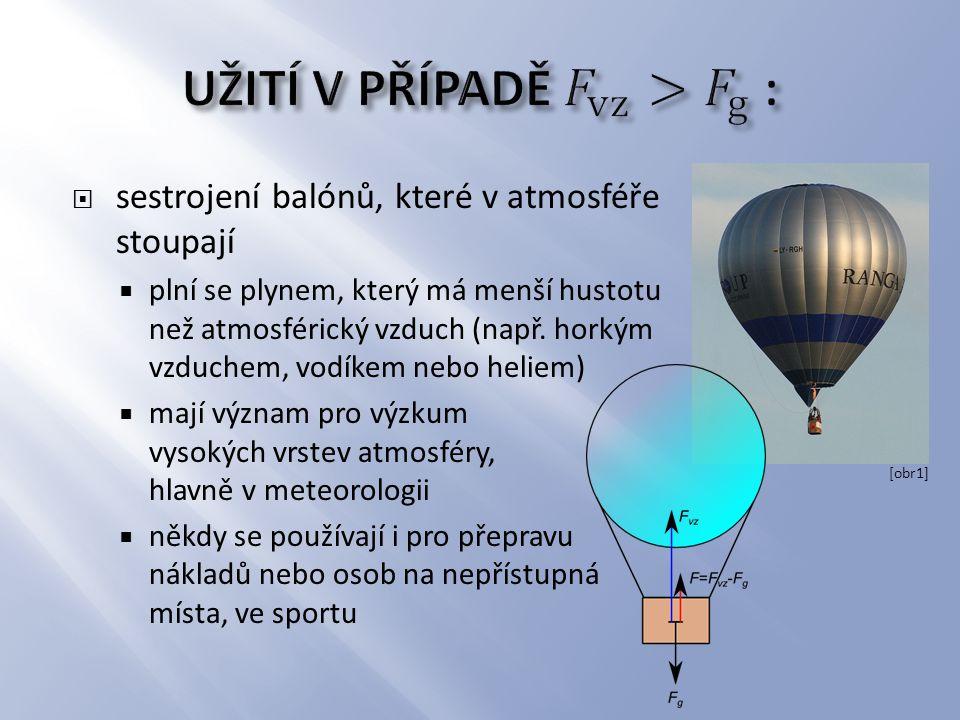  sestrojení balónů, které v atmosféře stoupají  plní se plynem, který má menší hustotu než atmosférický vzduch (např. horkým vzduchem, vodíkem nebo