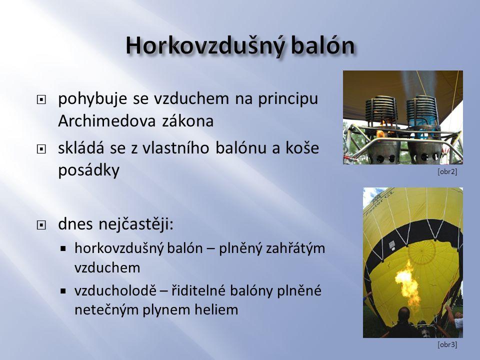  pohybuje se vzduchem na principu Archimedova zákona  skládá se z vlastního balónu a koše posádky  dnes nejčastěji:  horkovzdušný balón – plněný z