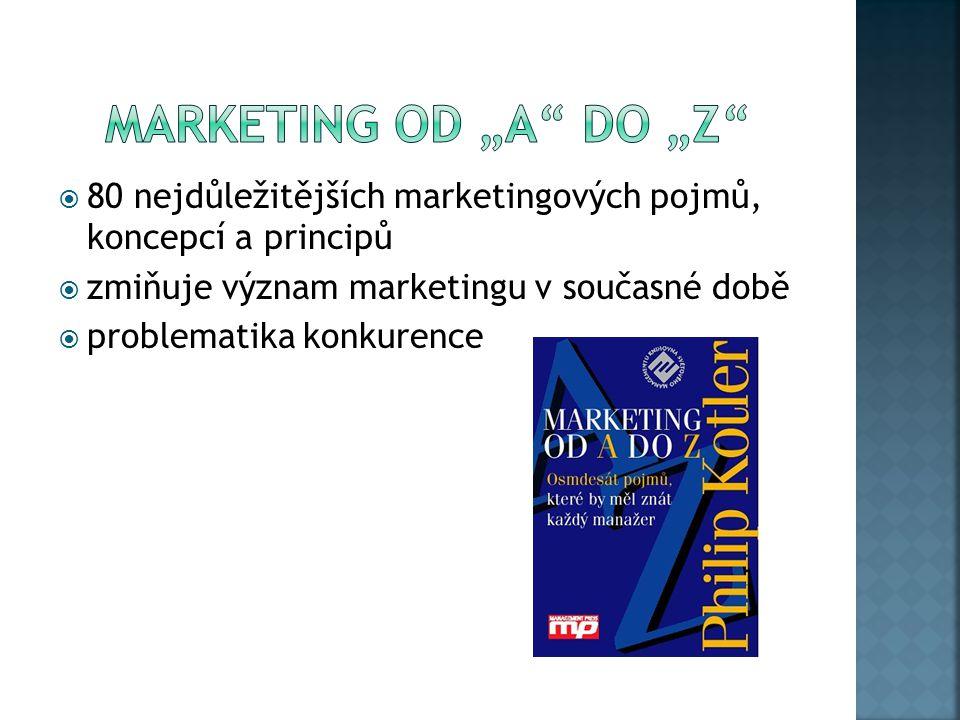  80 nejdůležitějších marketingových pojmů, koncepcí a principů  zmiňuje význam marketingu v současné době  problematika konkurence