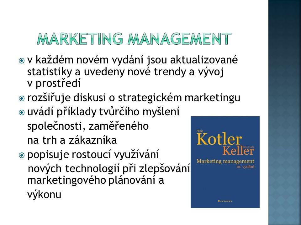  v každém novém vydání jsou aktualizované statistiky a uvedeny nové trendy a vývoj v prostředí  rozšiřuje diskusi o strategickém marketingu  uvádí příklady tvůrčího myšlení společnosti, zaměřeného na trh a zákazníka  popisuje rostoucí využívání nových technologií při zlepšování marketingového plánování a výkonu
