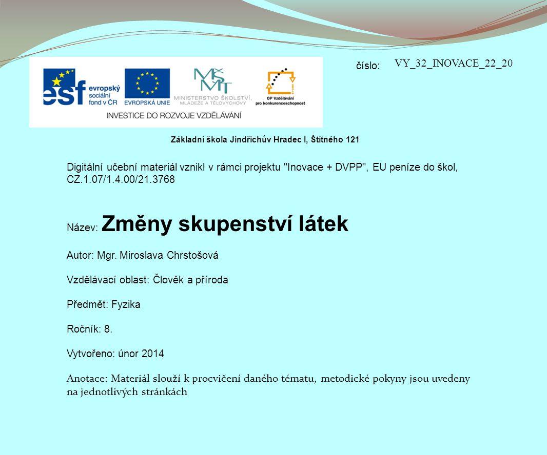 číslo: Digitální učební materiál vznikl v rámci projektu Inovace + DVPP , EU peníze do škol, CZ.1.07/1.4.00/21.3768 Název: Změny skupenství látek Autor: Mgr.